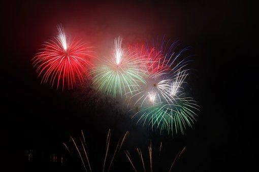 Rocket, Red, Green, White, Bombshell, Fireworks