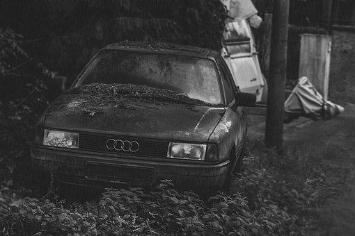 Auto, Audi A80, Grey, Rain, Turned Off, Sad