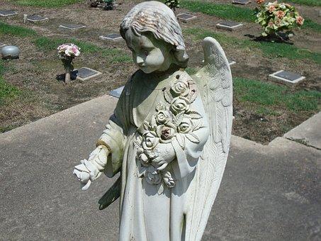 Angel, Cemetery, Statue, Headstone, Monument, Sad