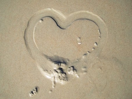 Heart In Sand, I Love You, Heart, Sandherz, Beach, Sand