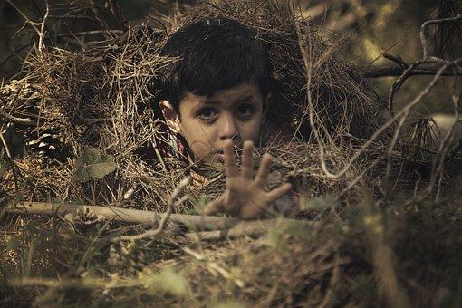 Child, Sad, Cry, Help, Hand, Scared, Hiding