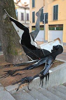 Osnago, Italy, Fall, Modern Art, Sculpture, Man Falling