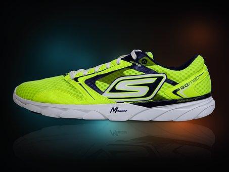 Running Shoe, Luminous, Bright, Yellow, Shoe