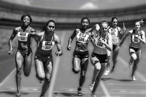 Relay Race, Competition, Stadium, Sport, Run, Athletics