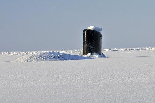 Arctic, Ocean, Submarine, Sub, Boat, Sea, Winter, Snow