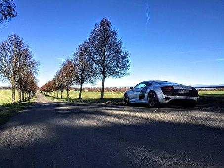 Audi, R8, V10, Sports Car, Sun, Sky, Landscape, Road