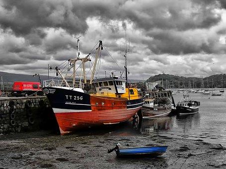 Boats, Fishing, Mud, Water, Fishing Boat, Sky, Blue