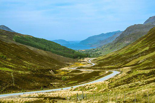Road, Wound, Winds, Sky, Lake, Loch Maree, Water