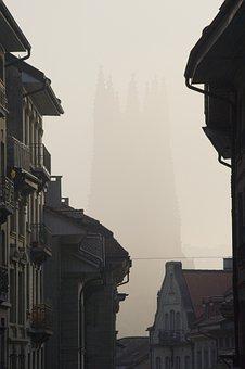 Road, Alley, Church, Steeple, Münster, Switzerland