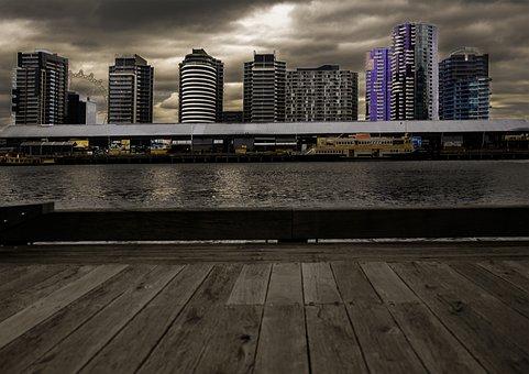 Landscape, Buildings, Architecture, Docklands, Urban
