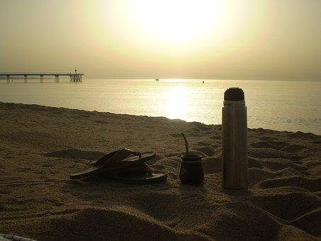 Thermo, Sea, Sunset, Beach, Matt, Dawn, Flip Flops, Tea