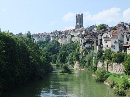 Fribourg, Switzerland, Cathedral, City, Summer, Sarine