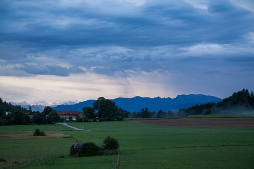 Landscape, Mountains, Upper Bavaria, Evening, Grey