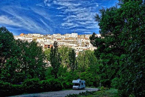 Motorhome, Alcala Del Jucar, Village, Mountain, Rocky