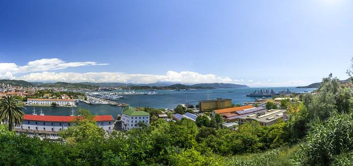 La Spezia, Italy, Panorama, Summer, View, Wide Angle