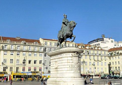 Portugal, Lisbon, Statue, Equestrian, Place, King John