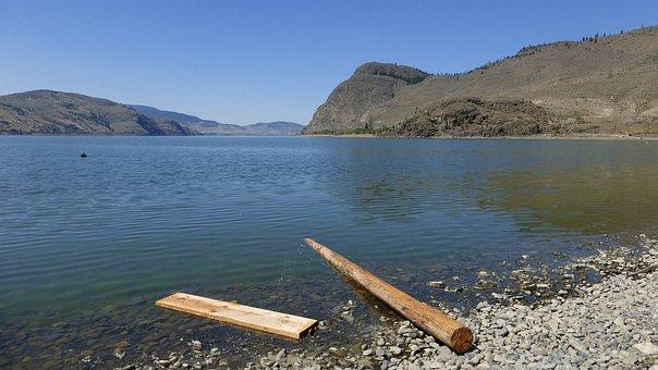 Kamloops Lake, Lake, Wood, Driftwood, Landscape, Scenic