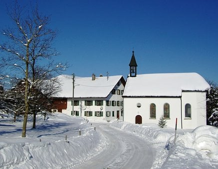 Cress, Chapel, Oy Mittelberg, Allgäu, Winter, Snow