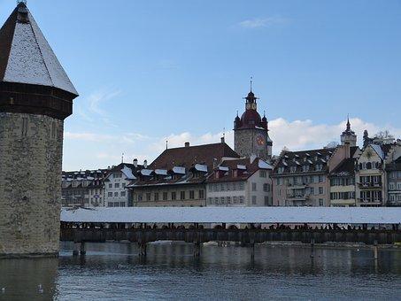 Lucerne, Switzerland, Chapel Bridge, Water Tower