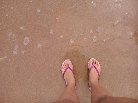 Flip Flops, Feet, Summer, Beach, Waves, Sea, Vacation