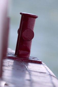 Ship, Bollard, Red, Nautical, Vessel, Dock, Iron