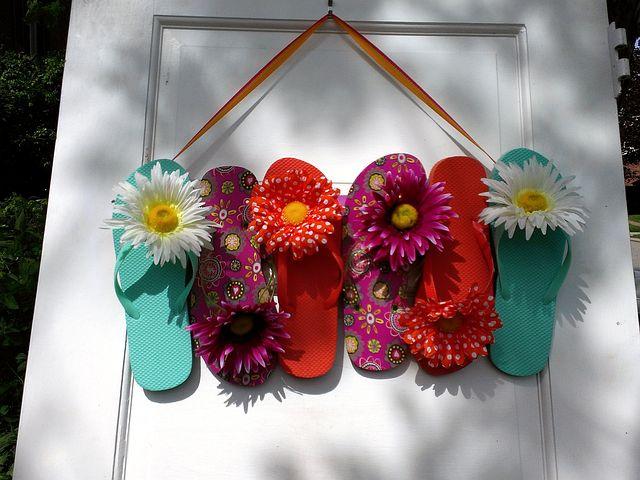 Wreath, Summer, Flip Flops, Door Decor, Decor, Country
