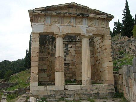 Temple Of Delphi, Ancient, Greek, Temple, Apollo
