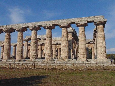 Greek Temples, Paestum, Columns, Antiquity