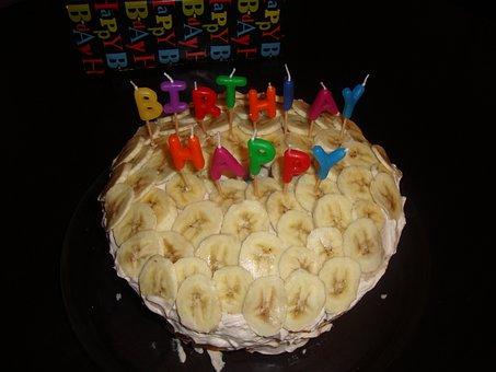 Banana Cake, Cake, Birthday, Homemade, Black Birthday