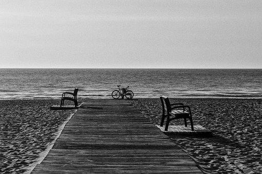 Beach, Benches, Bicycle, Bike, Ocean, Sand, Sea, Shore