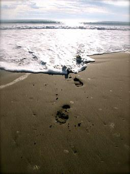 Footprints, Beach, Philippines, Tropical, Sea, Ocean