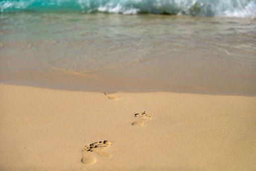 Footprints, Sand, Beach, Wet, Steps, Feet, Traces