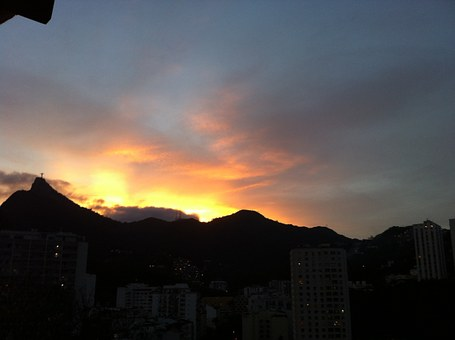 Sunset, Corcovado, Brazil, Landscape, Rio, Janeiro, De