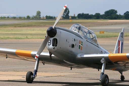 Fixed Wing Aircraft, Chipmunk, Silver Yellow, Parked