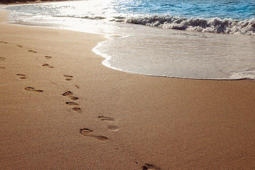 Sand, Beach, Ocean, Water, Footprints, Beach Sand