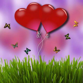 Heart, Butterfly, Balloon, Rush, Background, Valentine