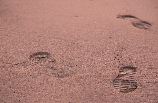 Footprints, Leg, Sand, Beach, Walk, Path, Shoes, Last