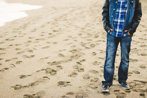 Man, Beach, Sand, Steps, Jeans, Vacation, Sandy Beach