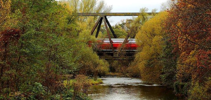 River, Bridge, Railway Bridge, Train, Autumn
