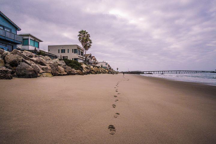 Beach, Houses, Sand, Footprints, Rocks, Shore, Purple