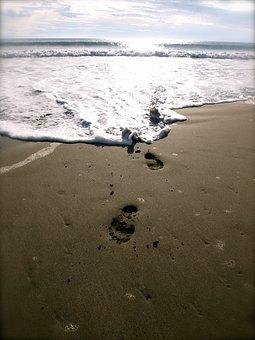 Footprints, Beach, Philippines, Tropical, Sea, Ocean