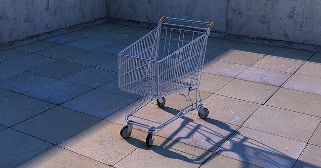 Shopping Cart, Dolly Cart, Shopping, Contour, Metallic