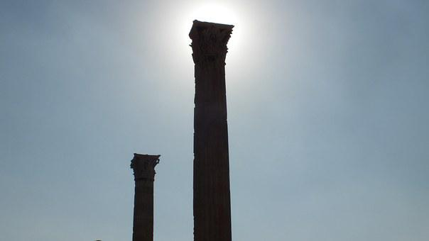 Backlight, Only, Colonnade, Greek, Greece, Space