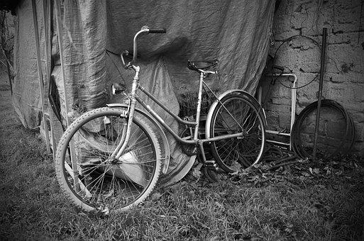 Old, Bicycle, Black, White, Heritage, History, Village