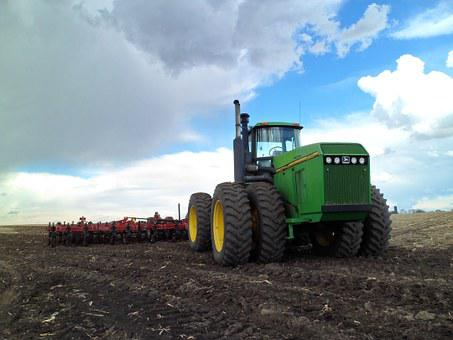 Tractor, Green, John Deere, Spring, Farm, Blue Sky