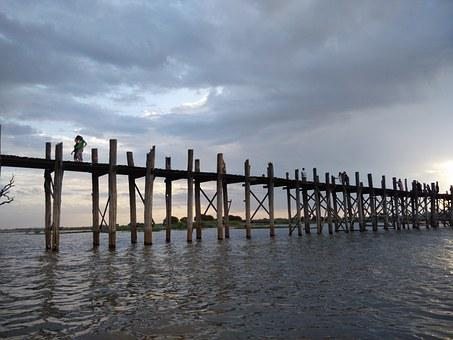 Bridge, Teka, Burma, Sunset, Amarapura, U Bein