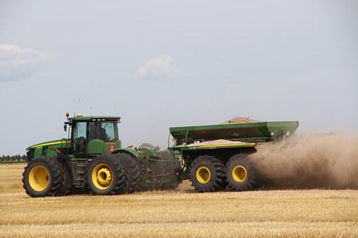 Tractor, John Deere, Dust, Wagon, Farming