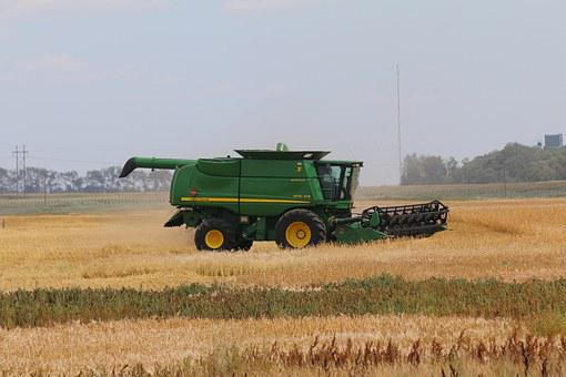 John Deere, Combine, Wheat, Agriculture, Farm, Field
