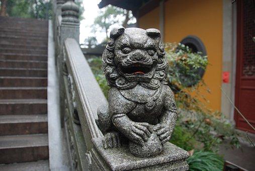 Buddha, Lion, Stairs, Stone, Decoration, Asian Style