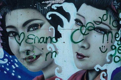 Graffiti, Geisha, Painting, Mural, Wall, Street Art